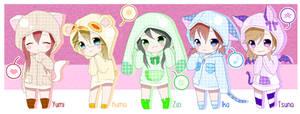 Rainbow Animal Hoodies by TsunaUsui10