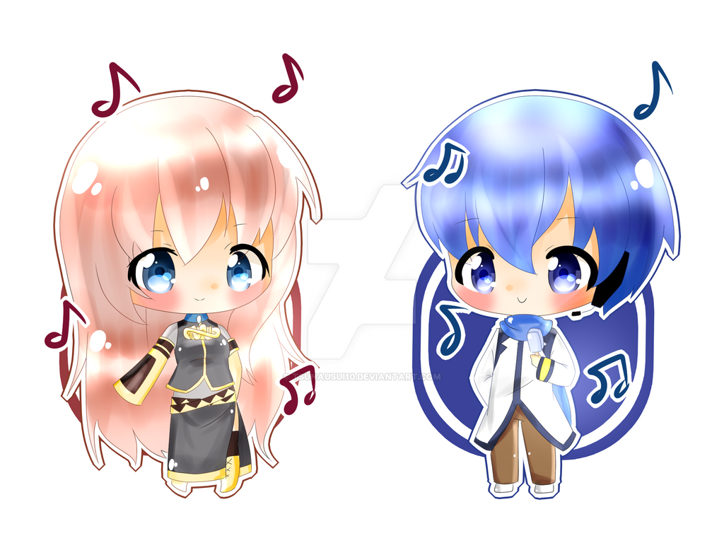 [Vocaloid] Chibi Luka and Kaito by TsunaUsui10 on DeviantArt