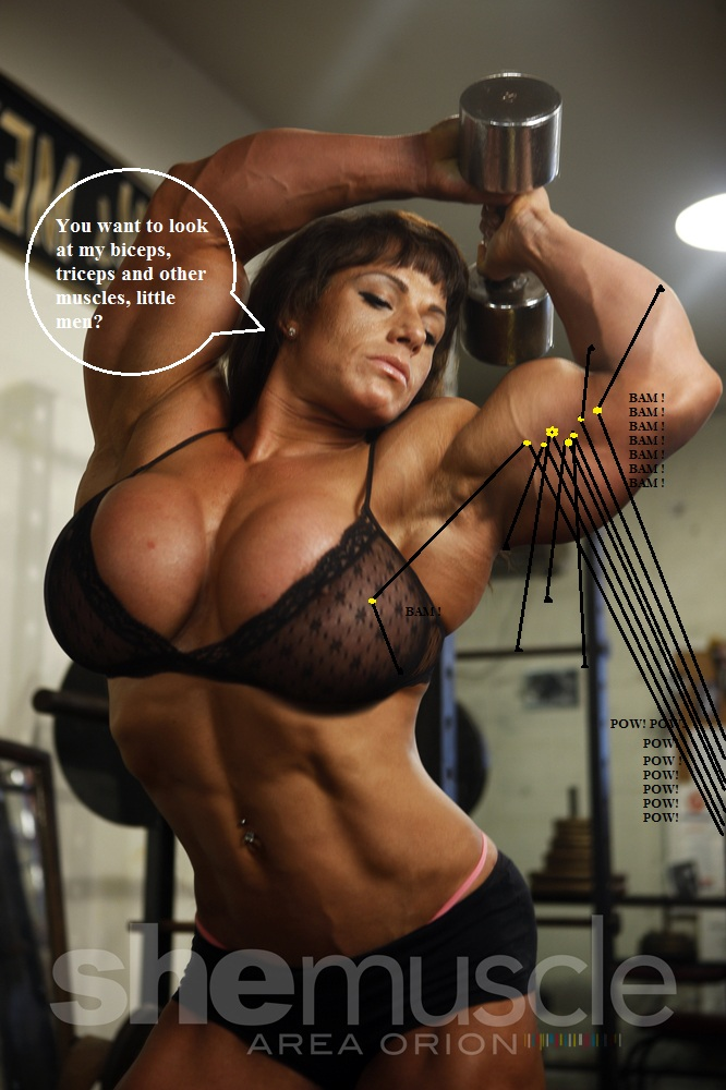 Starr Strong muscle woman blowjob