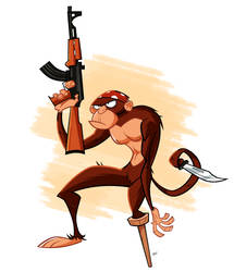 Chimp With A Machinegun by FranBianchi