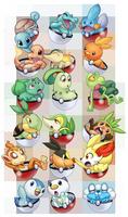 Pokemon Starters by ScittyKitty