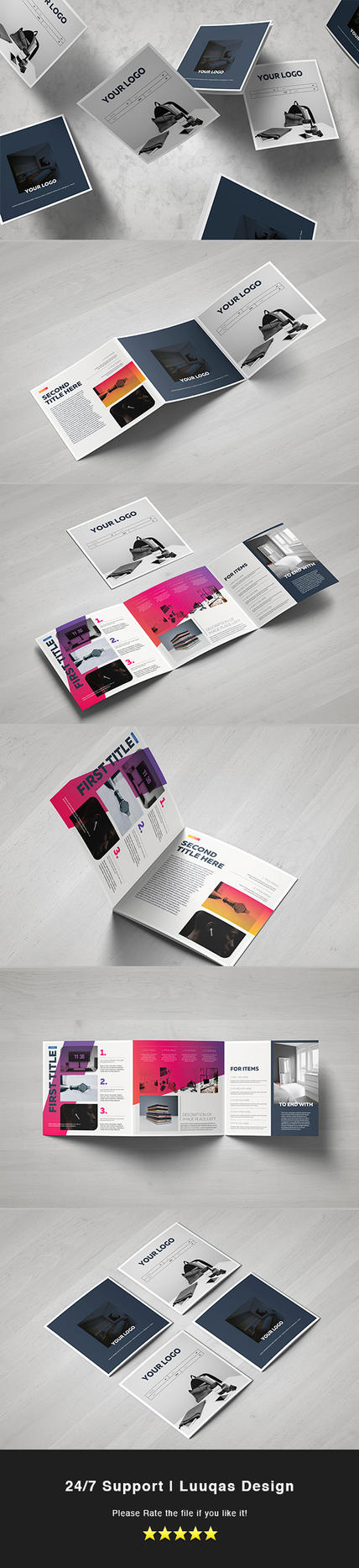 Gradient Square Trifold Template by luuqas