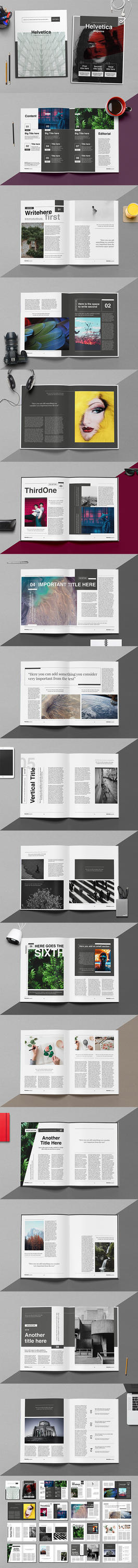 Helvetica Magazine Indesign Template by luuqas