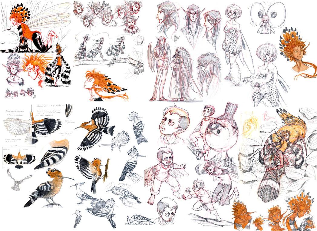 .:: Plumes sketchdump 02 ::. by Maiwenn