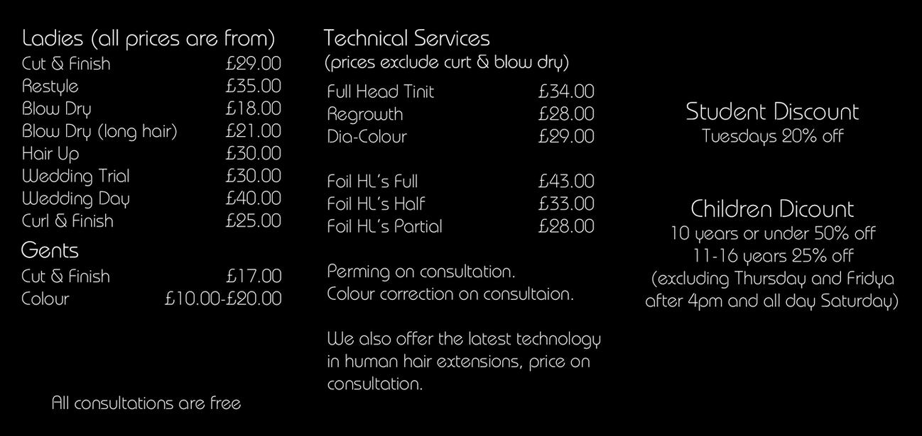 Hair Salon Price List Back By Jonathansurtees On Deviantart
