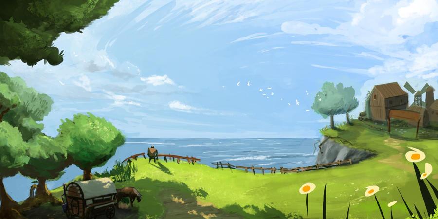 Seaside cliff by whiteoxygen