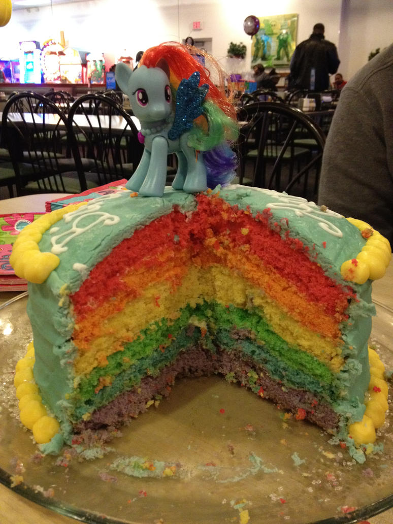 Rainbow Dash cake by tricksyriver