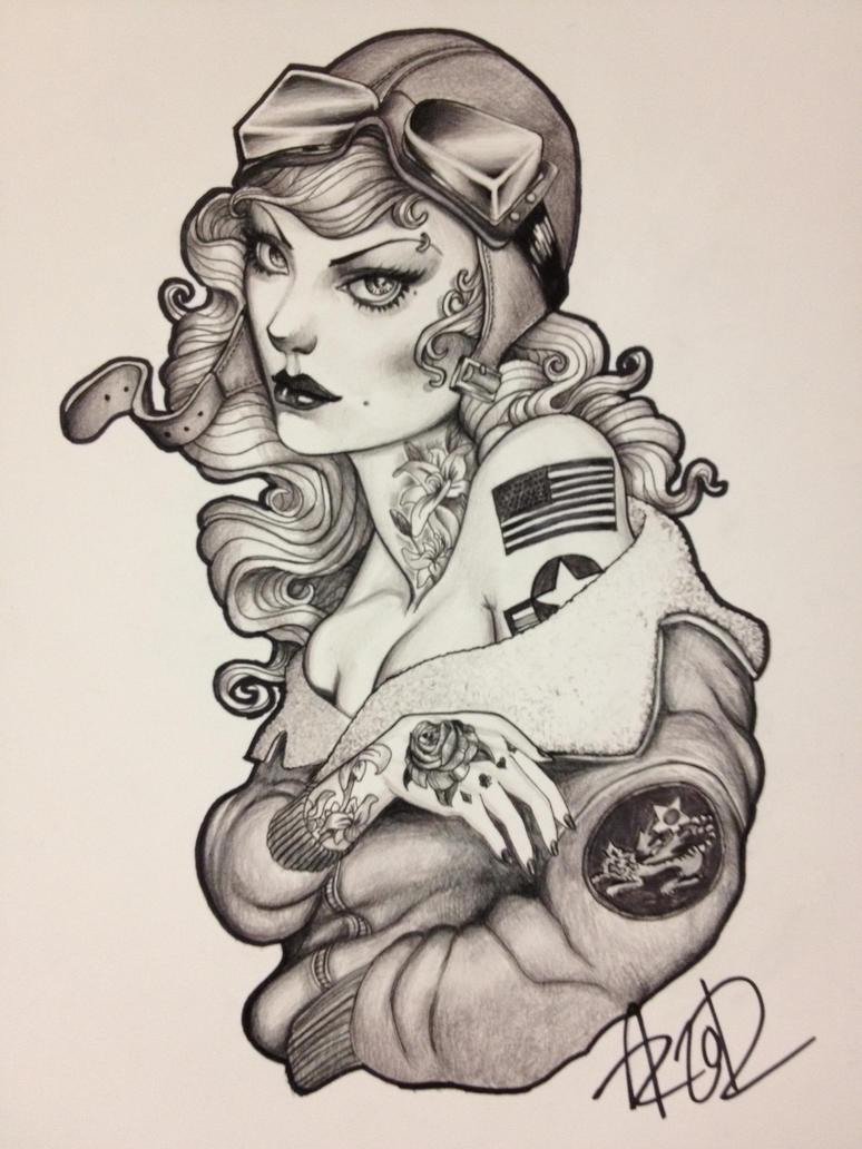 WW2 girl by CreepySketcher