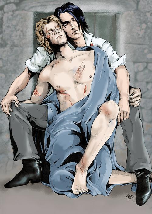 Ремус беря в рот член сириуса