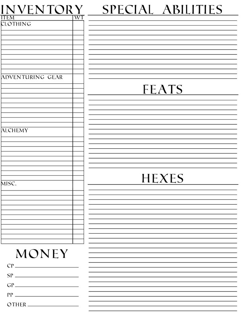 pathfinder inventory sheet - Ataum berglauf-verband com