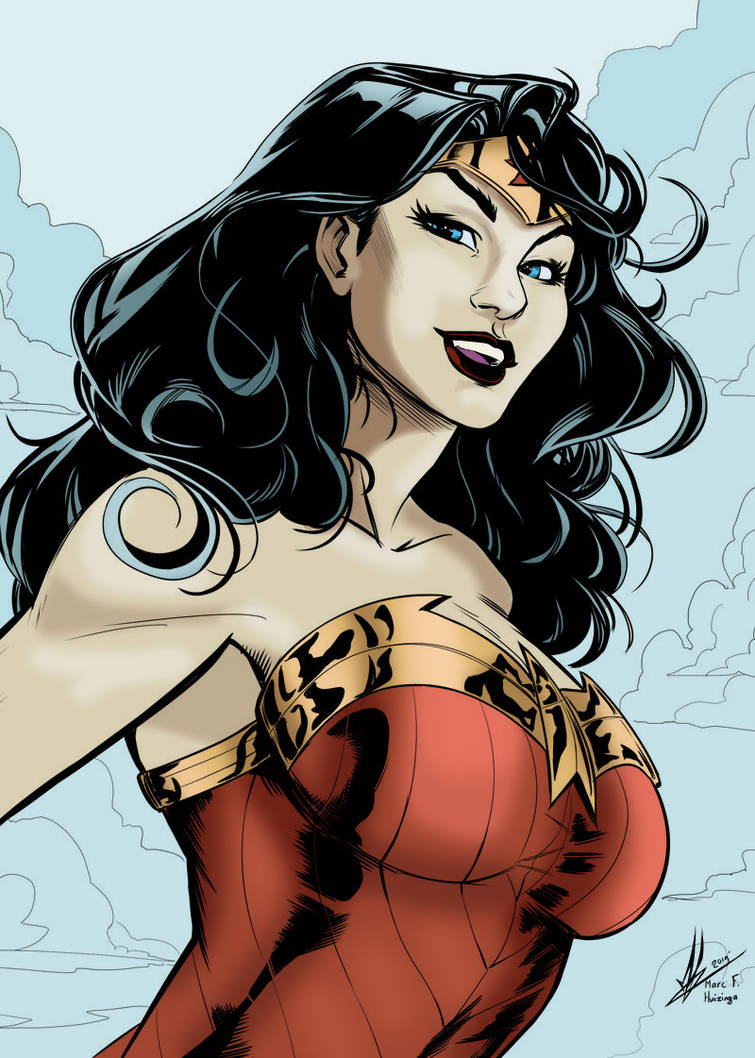 Wonder Woman By Marc F Huizinga PLUS color by me by lstowe