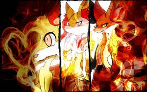 Fennekin, Braixen, Delphox Wallpaper Pokemon XY by Rainbowicescream
