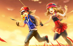Wallpaper Ash and Serena