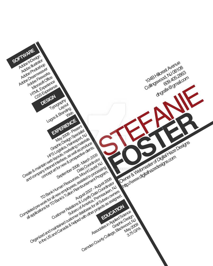 Typography Resume by LadyRagefist Typography Resume by LadyRagefist