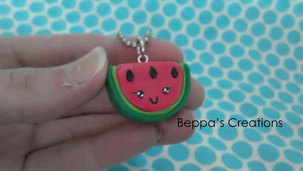 Kawaii Watermelon Necklace by BeppasCreations