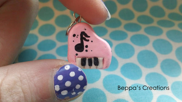 Mini Pink Piano Charm by BeppasCreations