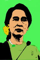 Aung San Suu Kyi Pop Art Warhol Style by pandemyoflove9999
