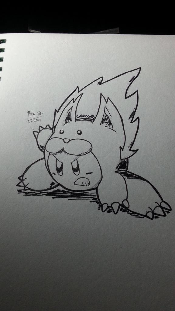 Inktober 01 - Animal Kirby by riodile