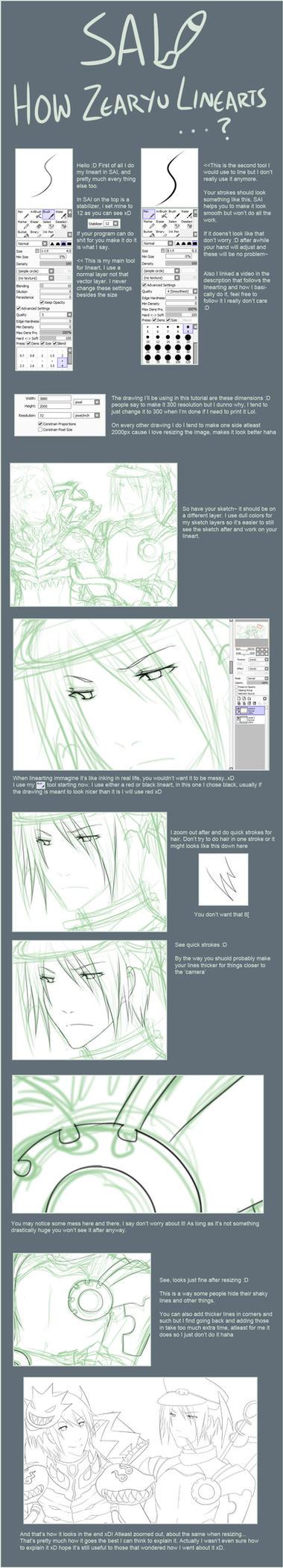 SAI lineart tutorial...ish by zearyu
