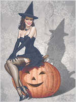 Halloween Retro Pinup by LorenzoDiMauro