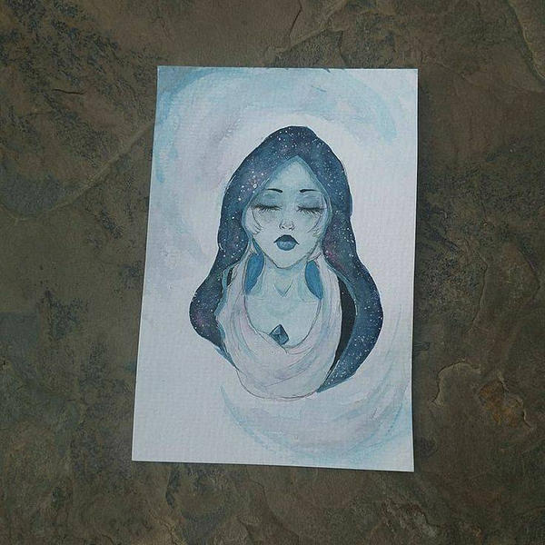 I did a watercolor of blue diamond. I love Steven Universe. Steven universe and it's characters are not mine.