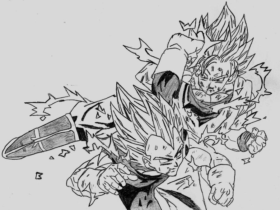 Goku Vs Vegeta Drawing | Www.imgkid.com - The Image Kid Has It!