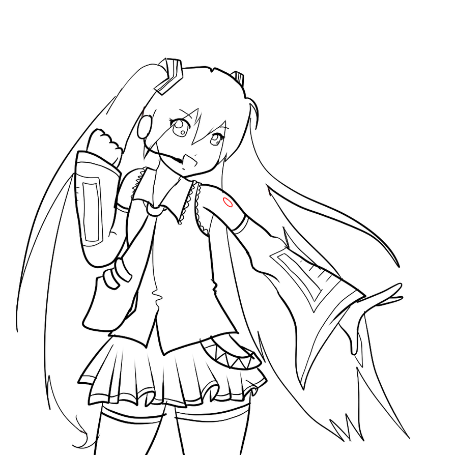 Hatsune Miku Lineart! by littletea10 on DeviantArt