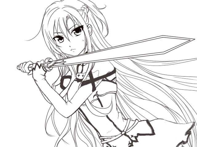 Sword Art Online Asuna Coloring Pages Sketch Coloring Page