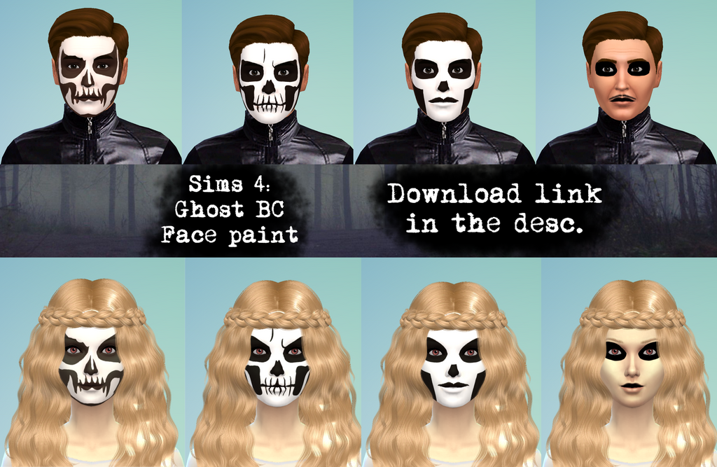 Sims 4: Ghost BC Face Paint cc (download in desc ) by