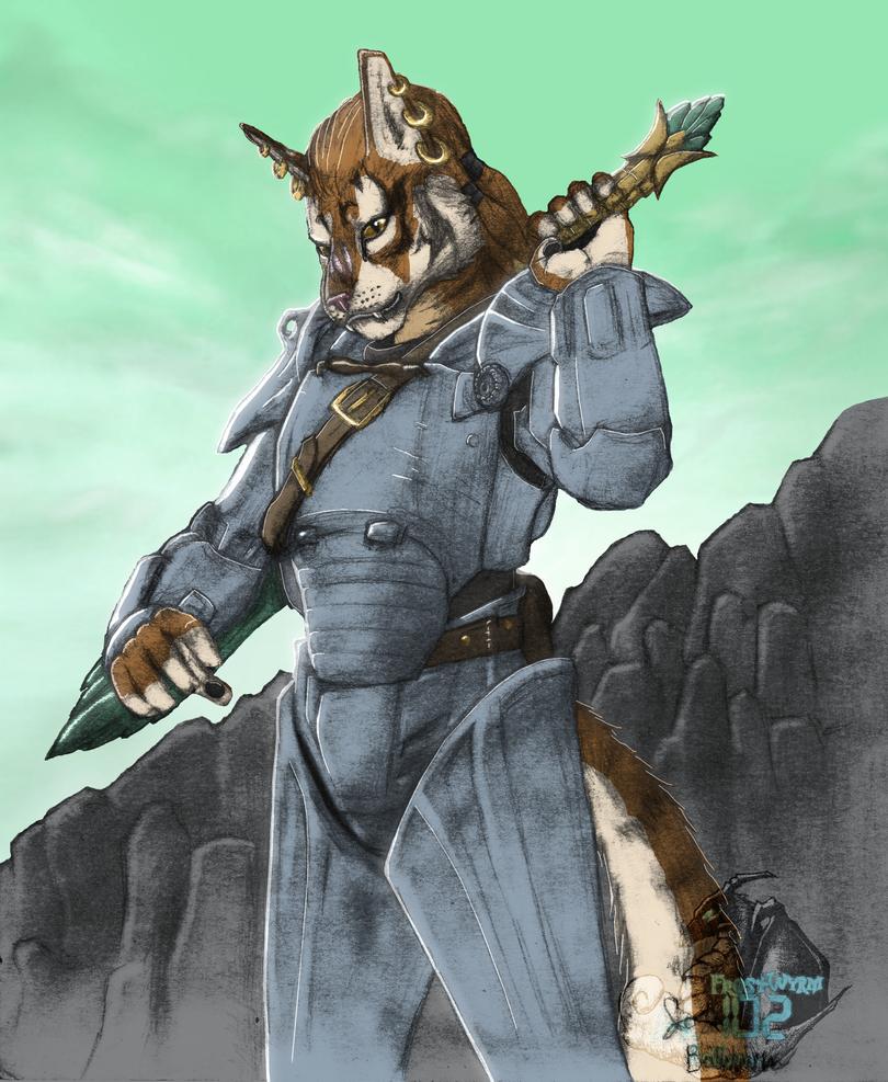 Khajiit in Power Armor by FrostWyrm102