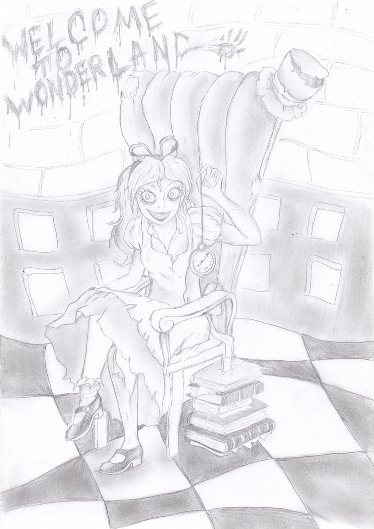 Halloween drawing - Welcome to Wonderland by sofitssofi