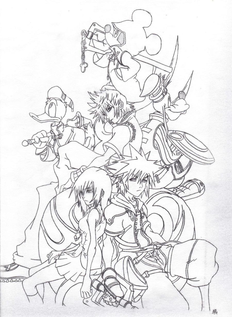 Kingdom Hearts Lineart : Kingdom hearts by artisticcole on deviantart