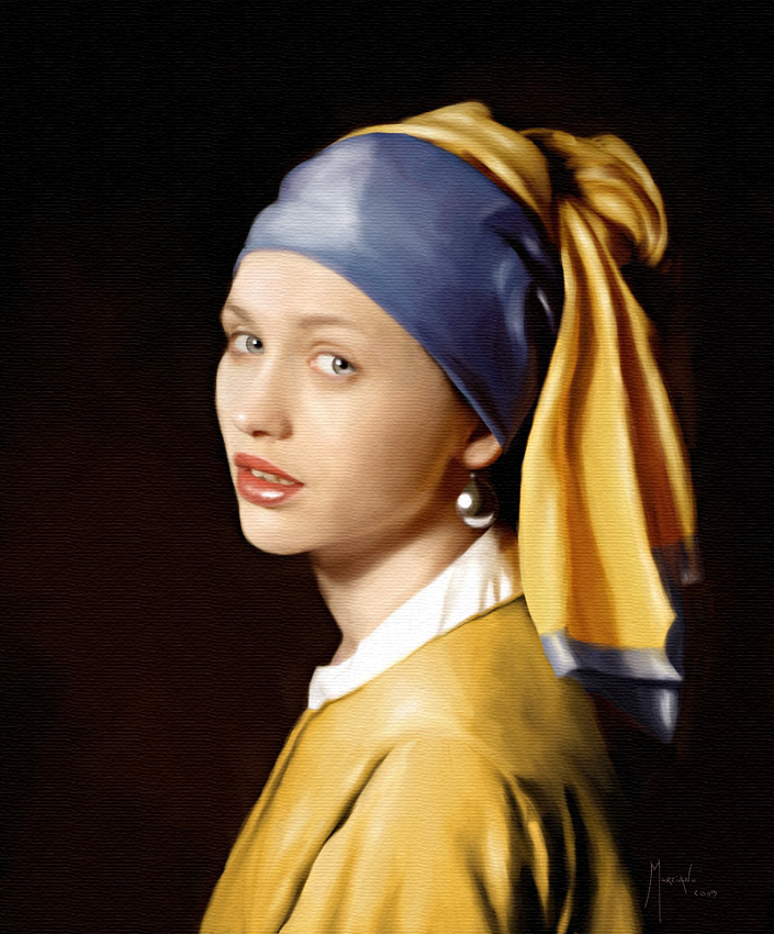 how to draw girl with a pearl earring