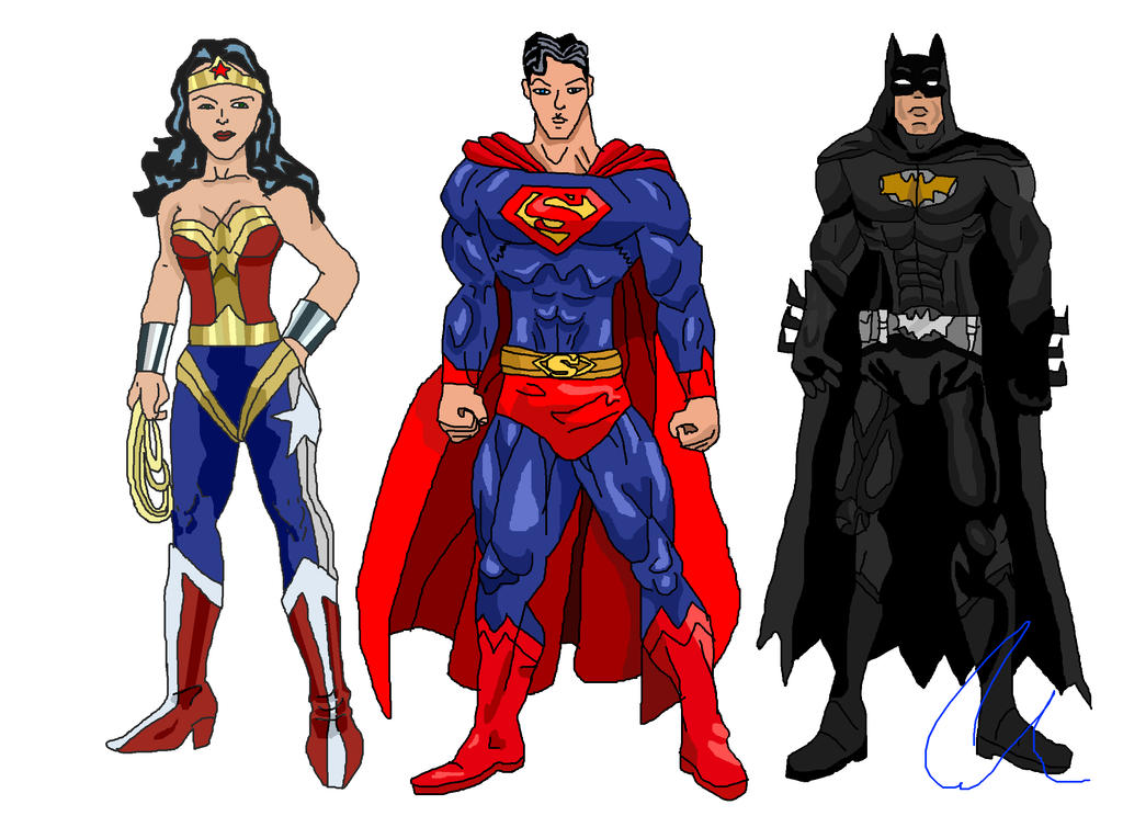 My justice league batman superman wonder woman by - Superman wonder woman cartoon ...