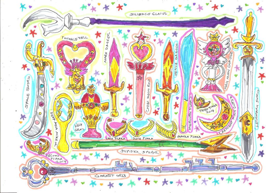 Sailor Moon Weapons by LavenderRanger