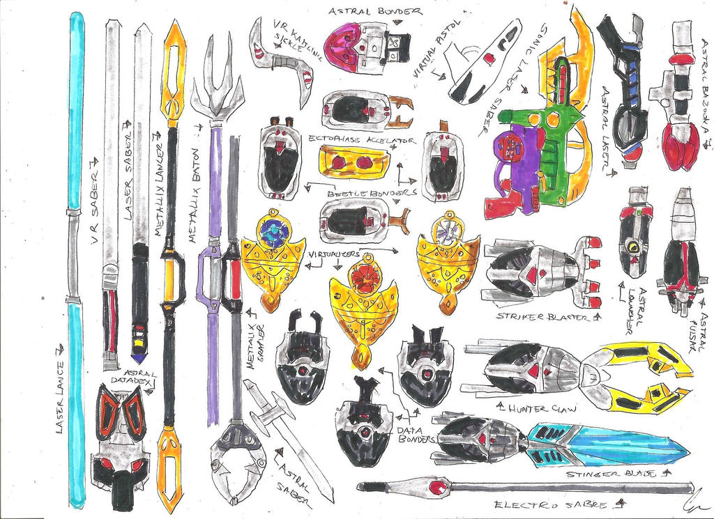 Ameritoku Henshin Devices and Weapons by LavenderRanger