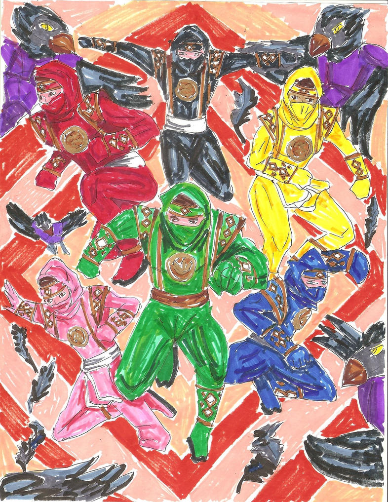 MMPR Ninjas (Green instead of White) - AU by LavenderRanger