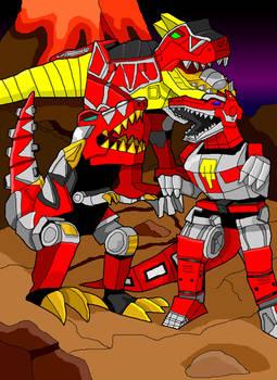 Three Red Tyrannosaurus