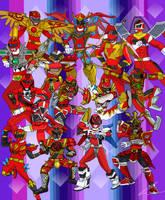 Red Battlizers In Space to Ninja Steel by LavenderRanger