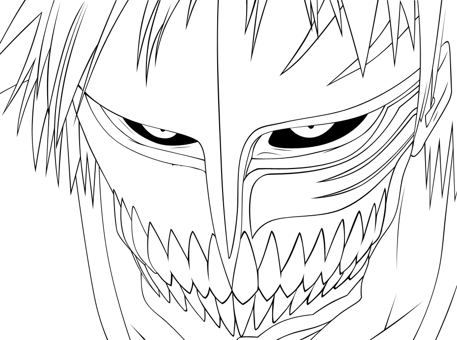 hollow ichigo lineart by lordbalda