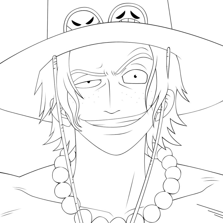 D Line Drawing : Portgas d ace lineart by lordbalda on deviantart