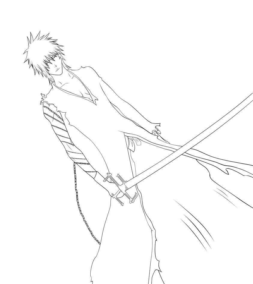 New Kurosaki Ichigo Lineart by lordbalda