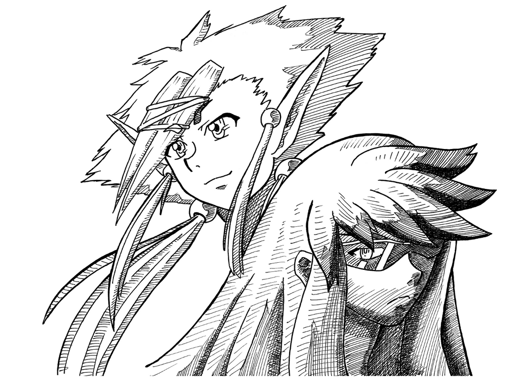Week of Sketching - Yami and Elyon by ValkyrieIzaak