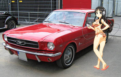Mio with her 1965 Ford Mustang Hardtop