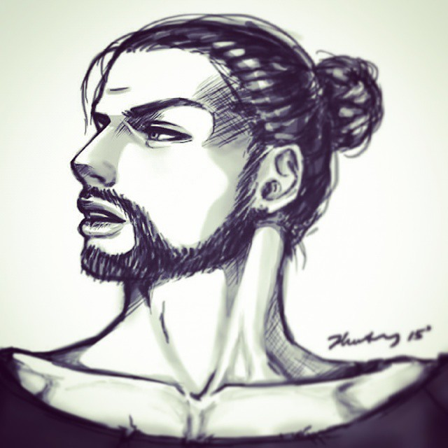 Sketch - Manbun guy [insert more creative title] by waterpieces