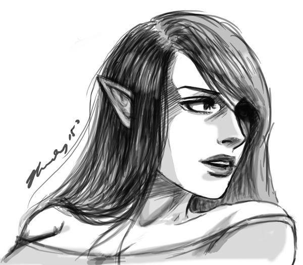 Sketch - Elf Chick [insert more creative title] by waterpieces