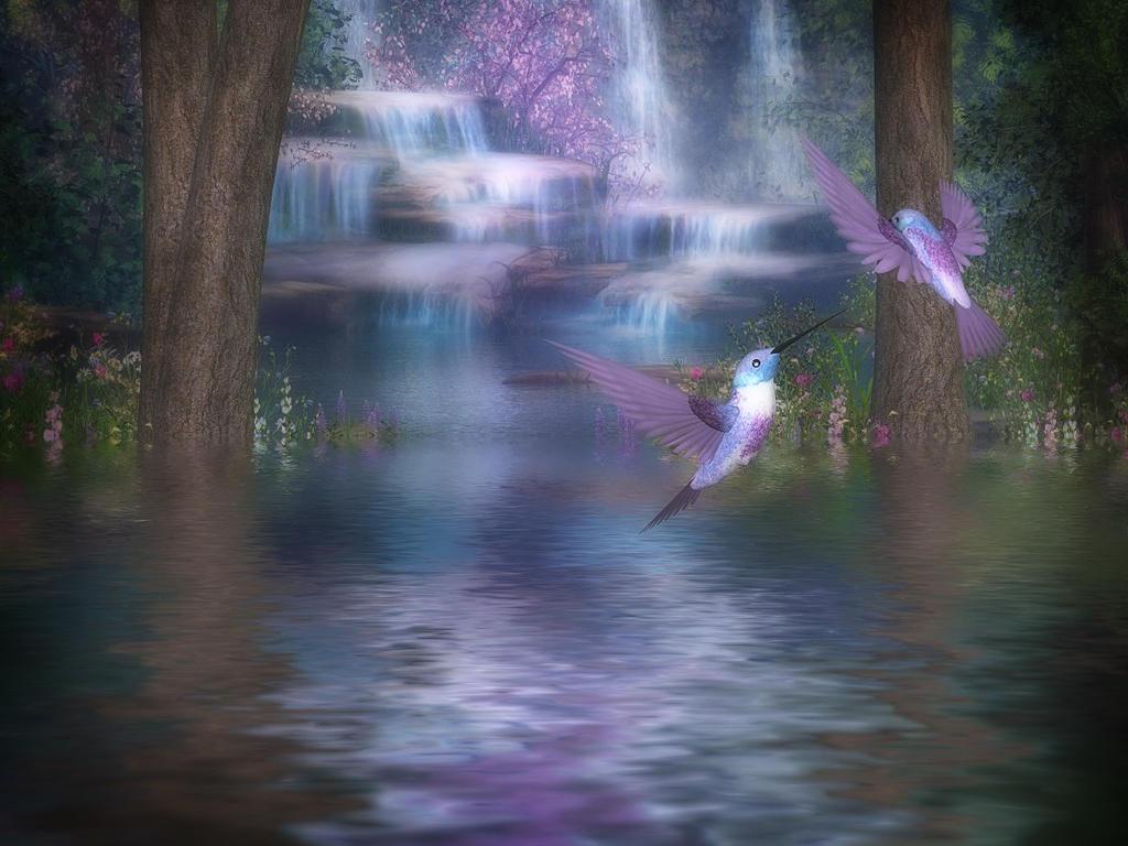 Hummingbird Falls by oldhippieart