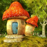 Mushroom House by oldhippieart