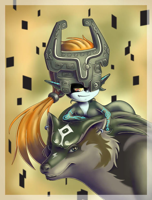 Wolf Link and Midna by Ammako-chan