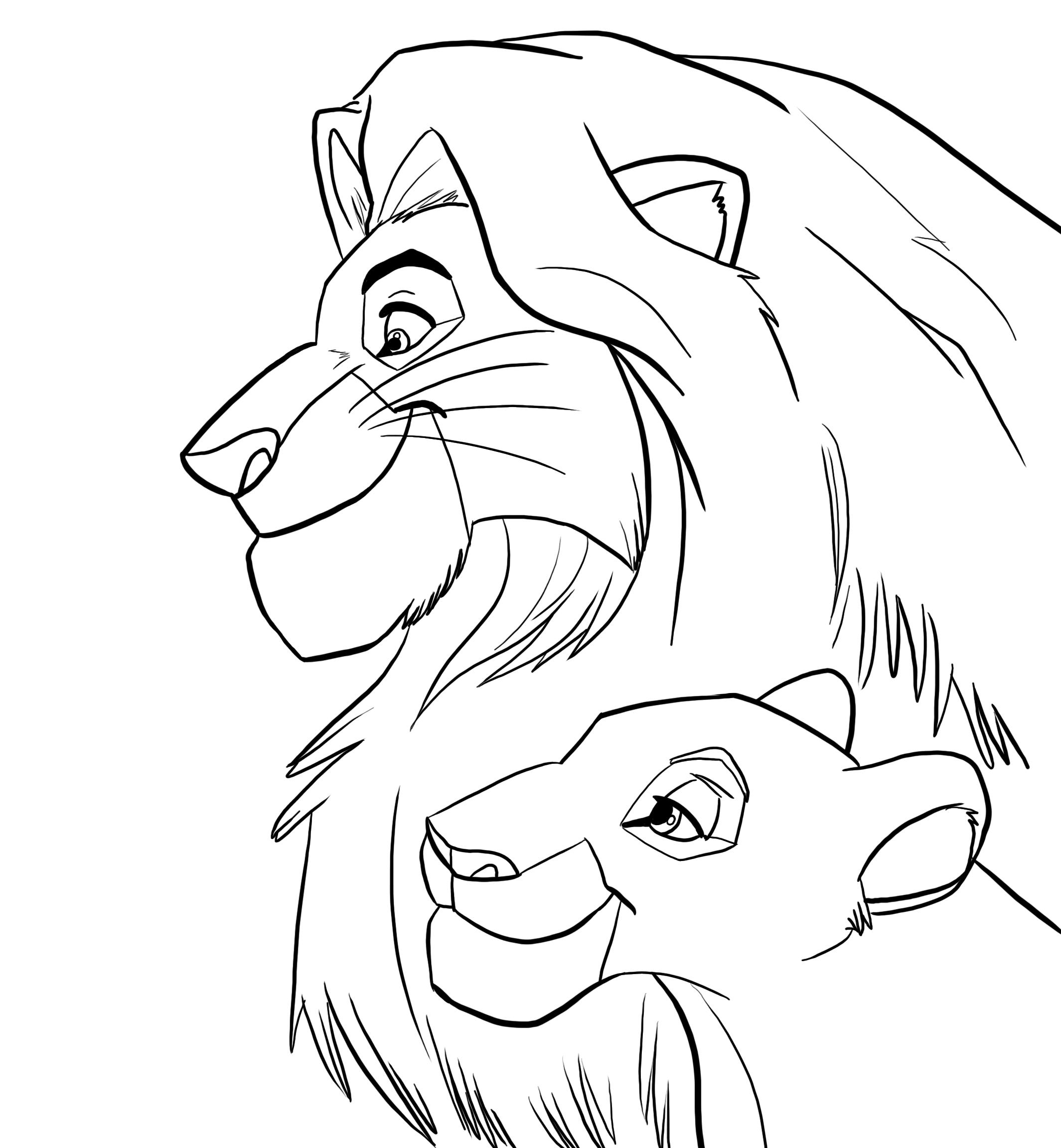 mufasa and sarabi_lineart by senshee mufasa and sarabi_lineart by senshee - Mufasa Coloring Pages